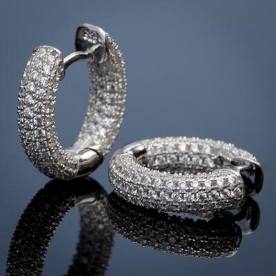 Mens Silver Fully Iced Zig Zag Set Hoop Earrings