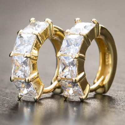 Mens 14K Gold Square Solitaire Small Hoop Earrings Rc3