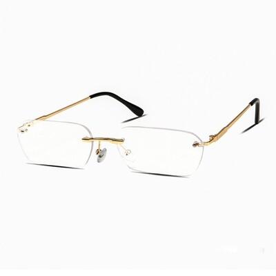 Mens Vintage Clear Lens Rimless Gold Frame Glasses
