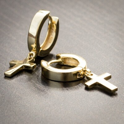 Men's 14K Gold Cross Drop Dangle Huggie Hoop Earrings
