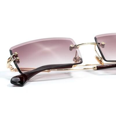 Mens Rectangular Burgundy Tint Rimless Sunglasses