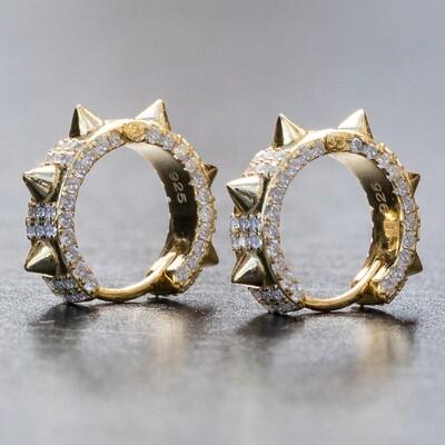 Mens 14K Gold Fully Iced Small Spike Hoop Earrings