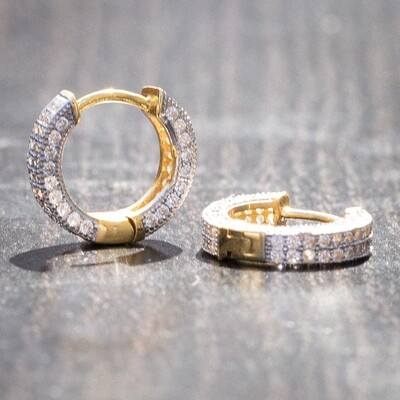Mens Small Two Tone Gold Ice Out Hoop Earrings