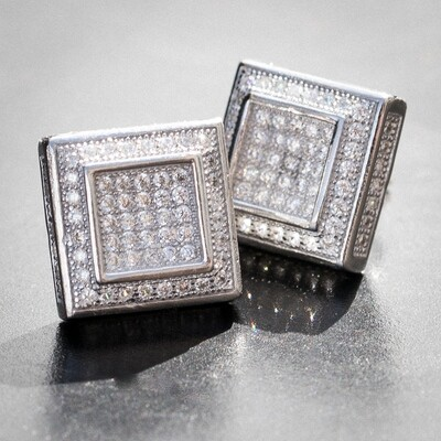 Mens Silver Double Square Iced Cz Stud Earrings