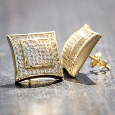 Mens Large 3d Gold Square Iced Hip Hop Earrings