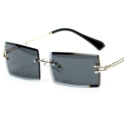 Mens Rectangular Black Tint Gold Rimless Sunglasses