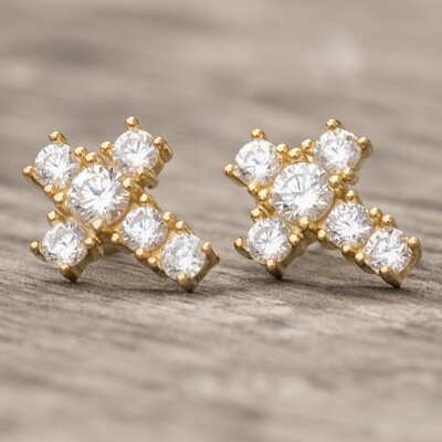 Small Gold Solitaire Cross Mens Stud Earrings