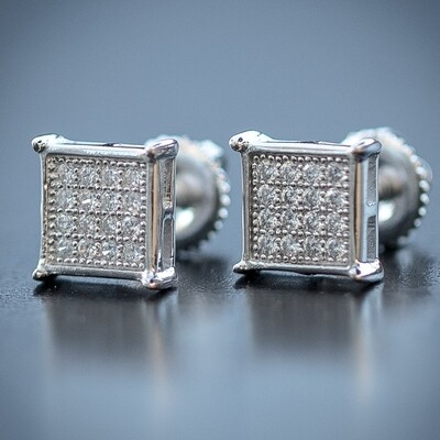 Mens Small Sterling Silver Square Micro Pave Earrings