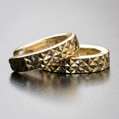 Mens Gold Sterling Silver Diamond Cut Hoop Earrings