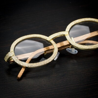 Mens 2 Row Gold Clear Lens Wood Grain Iced Glasses