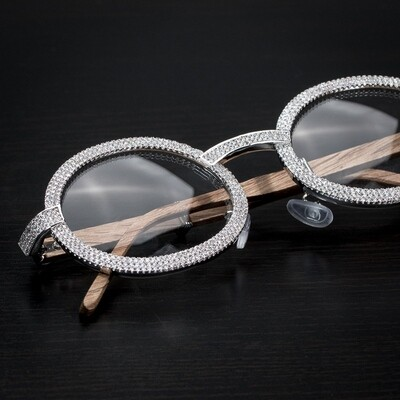 Mens Two Row Iced Cz Silver Clear Lens Wood Glasses