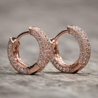 Mens Small Rose Gold Fully Iced Cz Hoop Earrings