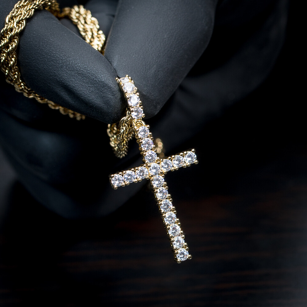 Iced Cz Gold Cross Pendant And Rope Chain Necklace