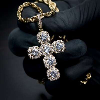 14K Gold Iced Elegant Cross Pendant Necklace