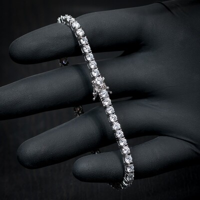 Men's White Gold Plated Solitaire Cz Tennis Bracelet