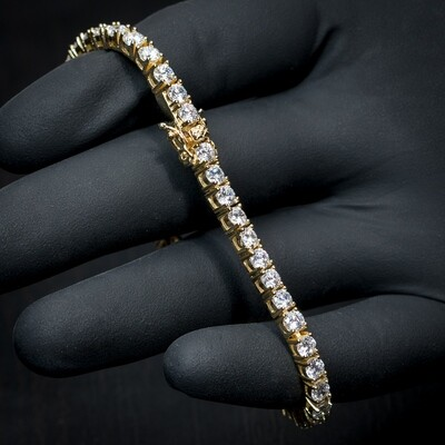Men's Gold Cz Solitaire Tennis Chain Bracelet