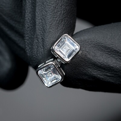 Mens Sterling Silver Square Emerald Earrings