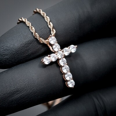 Mini Rose Gold Iced Cz Micro Cross Necklace