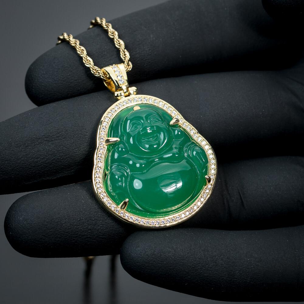 14K Gold Iced Cz Green Jade Buddha Pendant Necklace