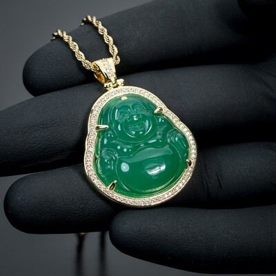 14K Gold Iced Cz Green Jade Buddha Pendant Necklace