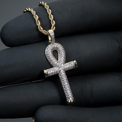 14k Gold Egyptian Ankh Cross Pendant Necklace