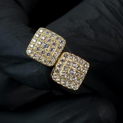 Mens 14K Gold Small Elegant Screw Back Square Earrings