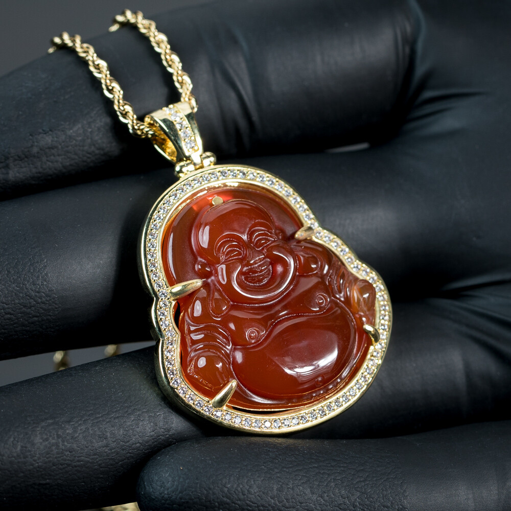 Iced 14K Gold Red Agate Buddha Pendant Necklace