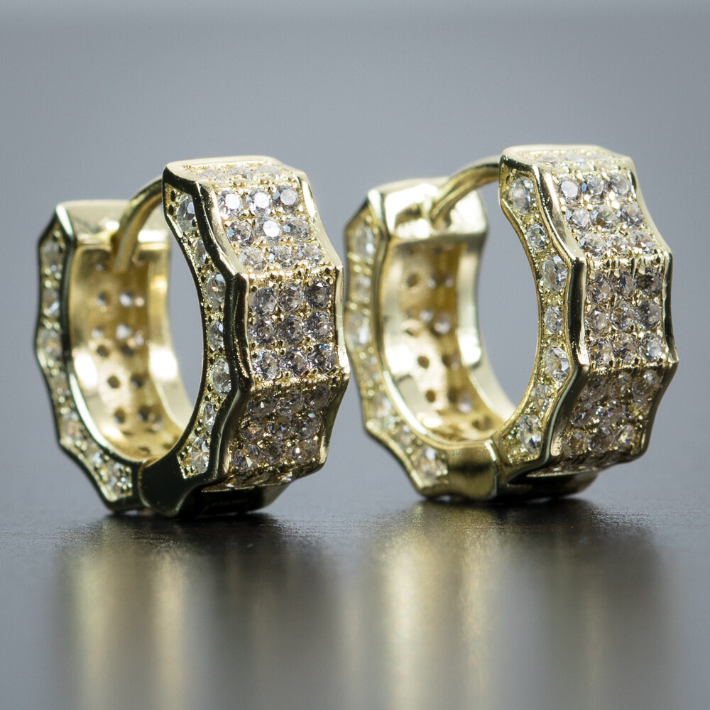 Mens Iced 14K Gold Small Huggie Hoop Earrings
