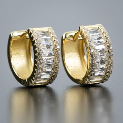 Men's Iced 14K Gold Baguette Hoop Huggie Earrings