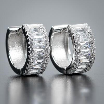 Men's Iced Sterling Silver Baguette Hoop Earrings