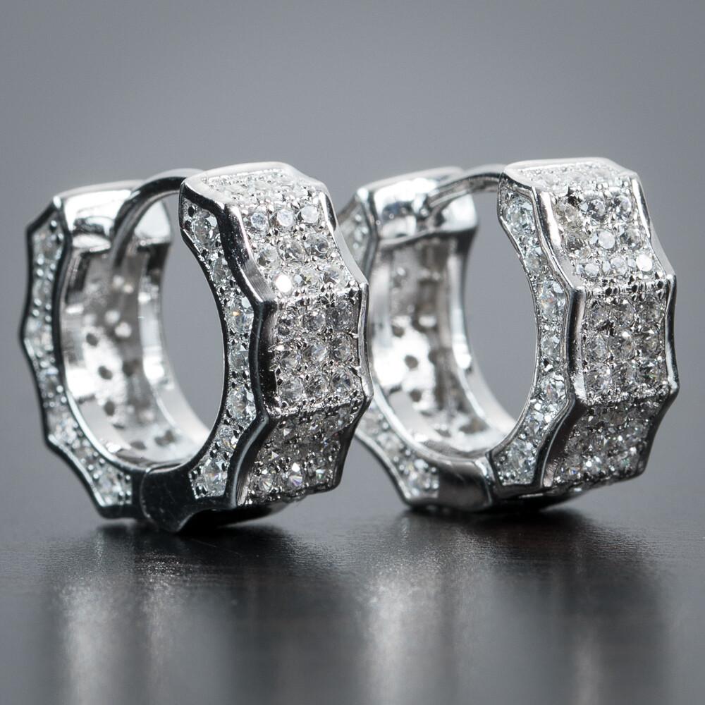 Iced Sterling Silver Small Huggie Hoop Earrings