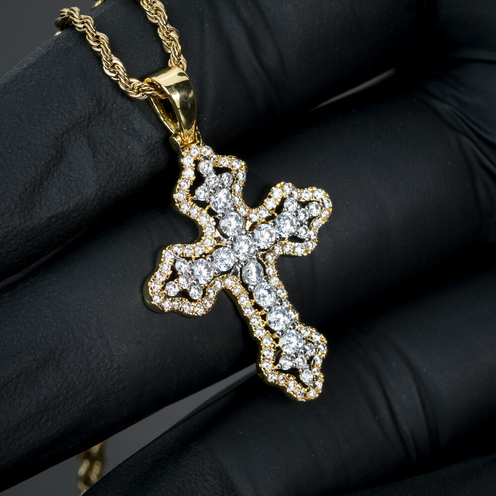 Mini Gold Iced Cross Pendant & Rope Chain Necklace