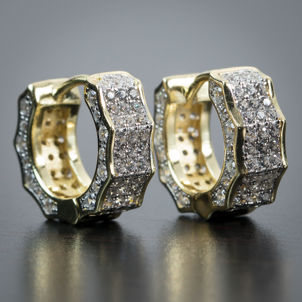Mens Iced Cz Two Tone Gold Huggie Hoop Earrings