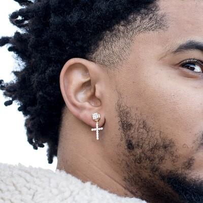 Mens Round Screw Back Gold Stud Cross Dangle Earrings