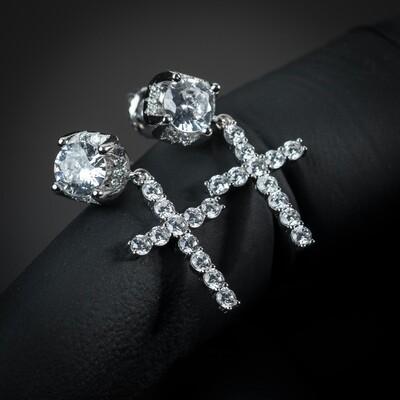 Mens Round Sterling Silver Stud Cross Dangle Earrings