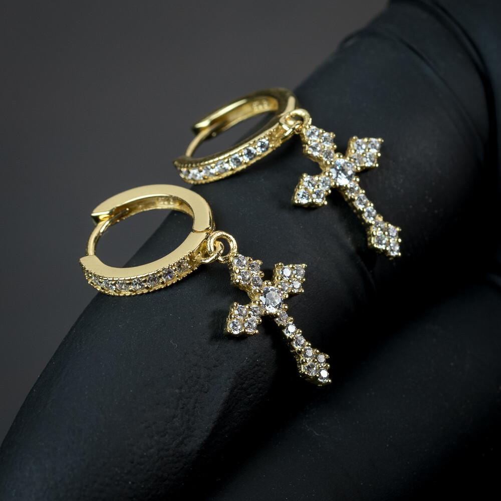 Mens 14K Gold Iced Dangle Cross Huggie Hoop Earrings