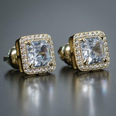 Mens 14K Gold Iced Cz Emerald Cut Earrings