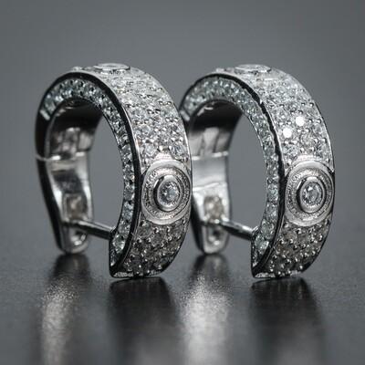 Mens Huggie Sterling Silver Iced Cz Small Hoop Earrings