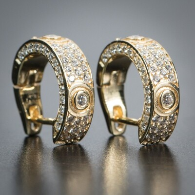 14K Gold Sterling Silver Iced Cz Mens Hoop Earrings