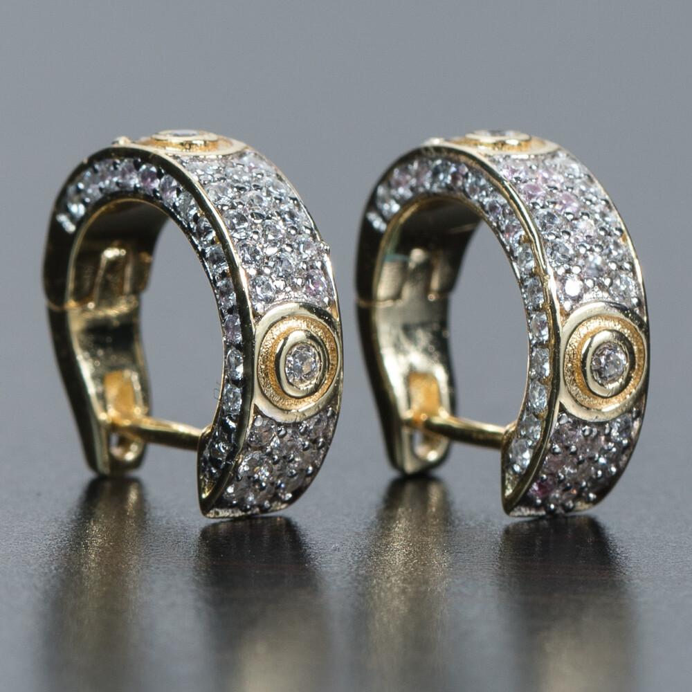 Mens 14K Gold Honey Comb Set Cz Hoop Earrings
