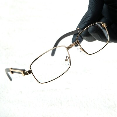 Men's Gold Frame Clear Lens Rectangle Wood Glasses