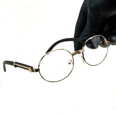 Men's Gold Round Clear Lens Wood Grain Glasses