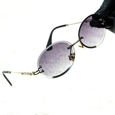 Mens Rimless Round Cut Vintage Purple Tint Sunglasses