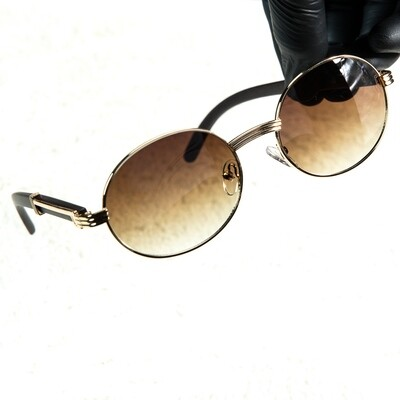 Men's Gold Round Brown Tint Wood SunGlasses