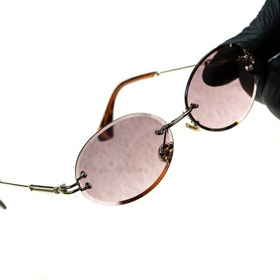 Mens Rimless Round Cut Vintage Burgundy Tint Sunglasses