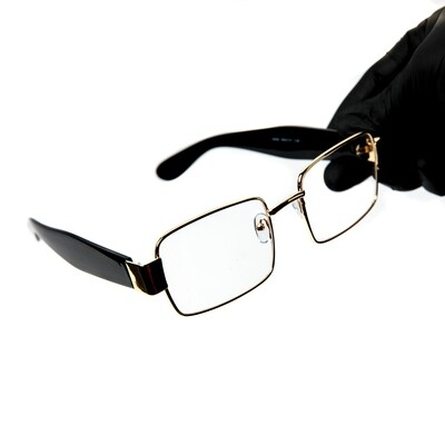 Mens Luxury Black & Gold Square Clear Lens Glasses
