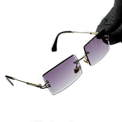 Mens Rectangle Gold Purple Gradient Tint Sunglasses