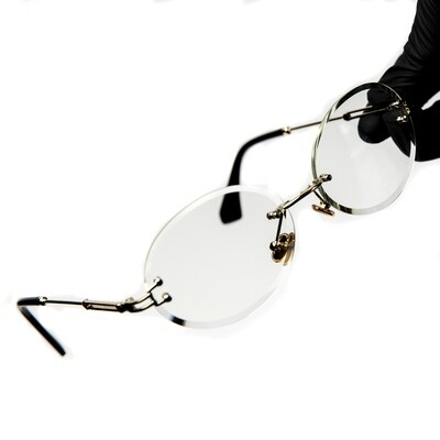 Mens Rimless Round Cut Gold Frame Clear Tint Glasses