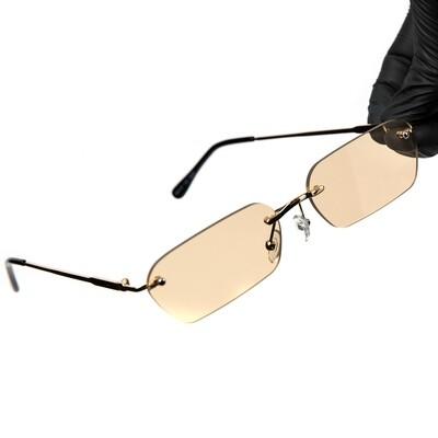 Mens Rimless Gold Frame Brown Tint Sunglasses