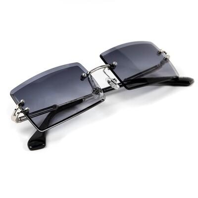 Mens Rectangle Silver Purple Tint Rimless Sunglasses